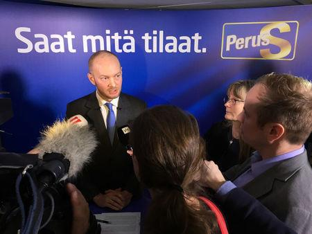 Finland's co-ruling Finns party politician Sampo Terho speaks during a news conference in Helsinki,