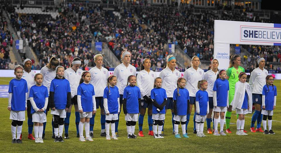 The United States standing for the national anthem  during the She Believes Cup football match between The United States and Japan at Talen Energy Stadium on February 27, 2019 in Chester, Pennsylvania, United States. (Photo by Action Foto Sport/NurPhoto via Getty Images)