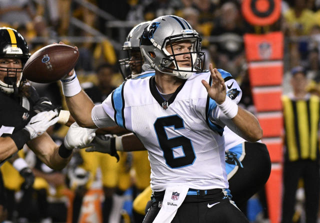 FILE - In this Aug. 30, 2018, file photo, Carolina Panthers quarterback Taylor Heinicke (6) throws a pass during the first half of a preseason NFL football game against the Pittsburgh Steelers in Pittsburgh. Heinicke will be making his first career start against the Falcons with Cam Newton out with a shoulder injury. (AP Photo/Don Wright, File)