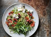 """Looking for meatless summer pasta recipes? This one gets briny richness from caper berries, and sweetness from marinated cherry tomatoes. It's sure to be a hit. <a href=""""https://www.epicurious.com/recipes/food/views/fresh-tomato-kale-and-caper-berry-pasta-56390082?mbid=synd_yahoo_rss"""" rel=""""nofollow noopener"""" target=""""_blank"""" data-ylk=""""slk:See recipe."""" class=""""link rapid-noclick-resp"""">See recipe.</a>"""