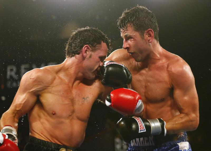 Darren Barker, right, and Daniel Geale stood toe-to-toe for 12 rounds Saturday night night. (Getty Images)
