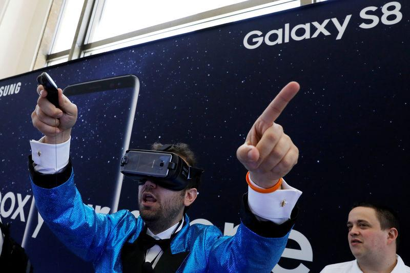 FILE PHOTO: A guest uses the Samsung Gear VR for the Samsung Galaxy S8 during the Samsung Unpacked event in New York City