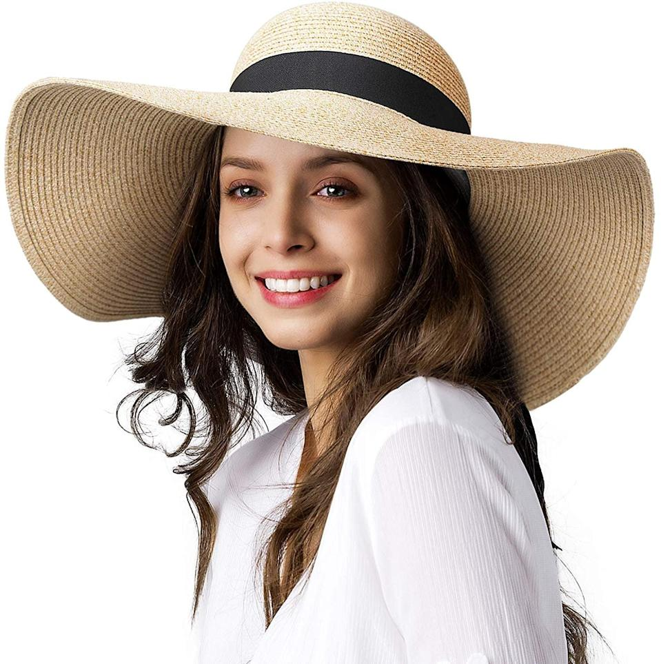 <p>You can't get any more stylish on the beach with a <span>Wide Brim Sun Straw Hat UPF 50</span> ($25).</p>