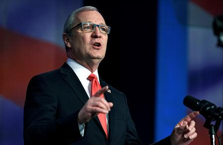 FILE PHOTO: Representative Kevin Cramer (R-ND) speaks at the 2018 North Dakota Republican Party Convention in Grand Forks, North Dakota, U.S., April 7, 2018. Picture taken April 7, 2018.  REUTERS/Dan Koeck/File Photo