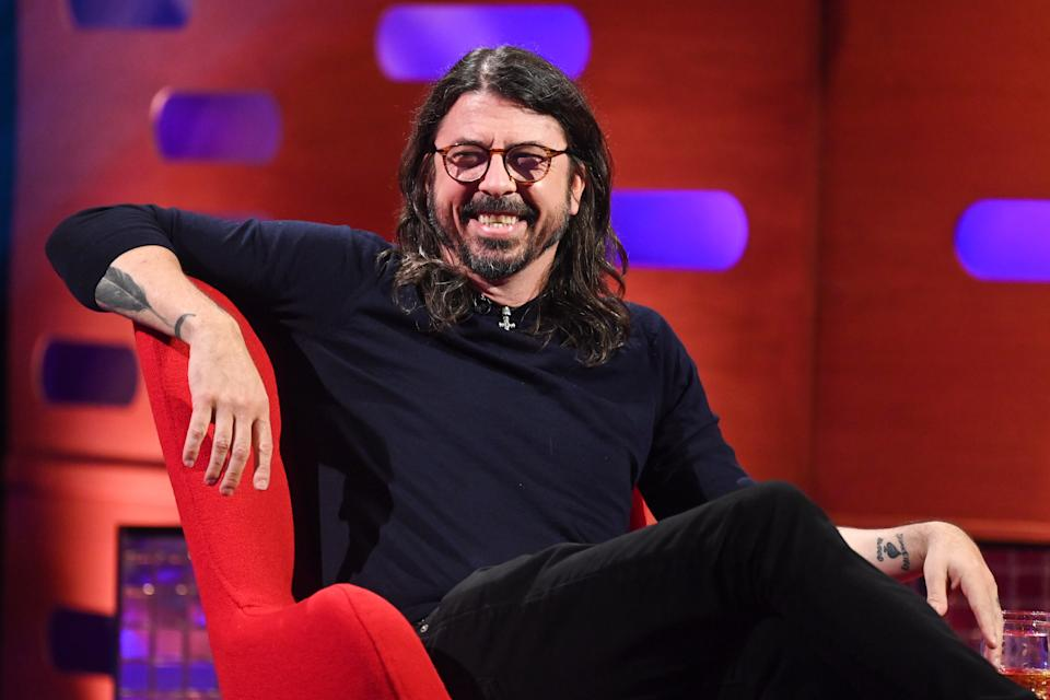 EDITORIAL USE ONLY Dave Grohl during the filming for the Graham Norton Show at BBC Studioworks 6 Television Centre, Wood Lane, London, to be aired on BBC One on Friday.