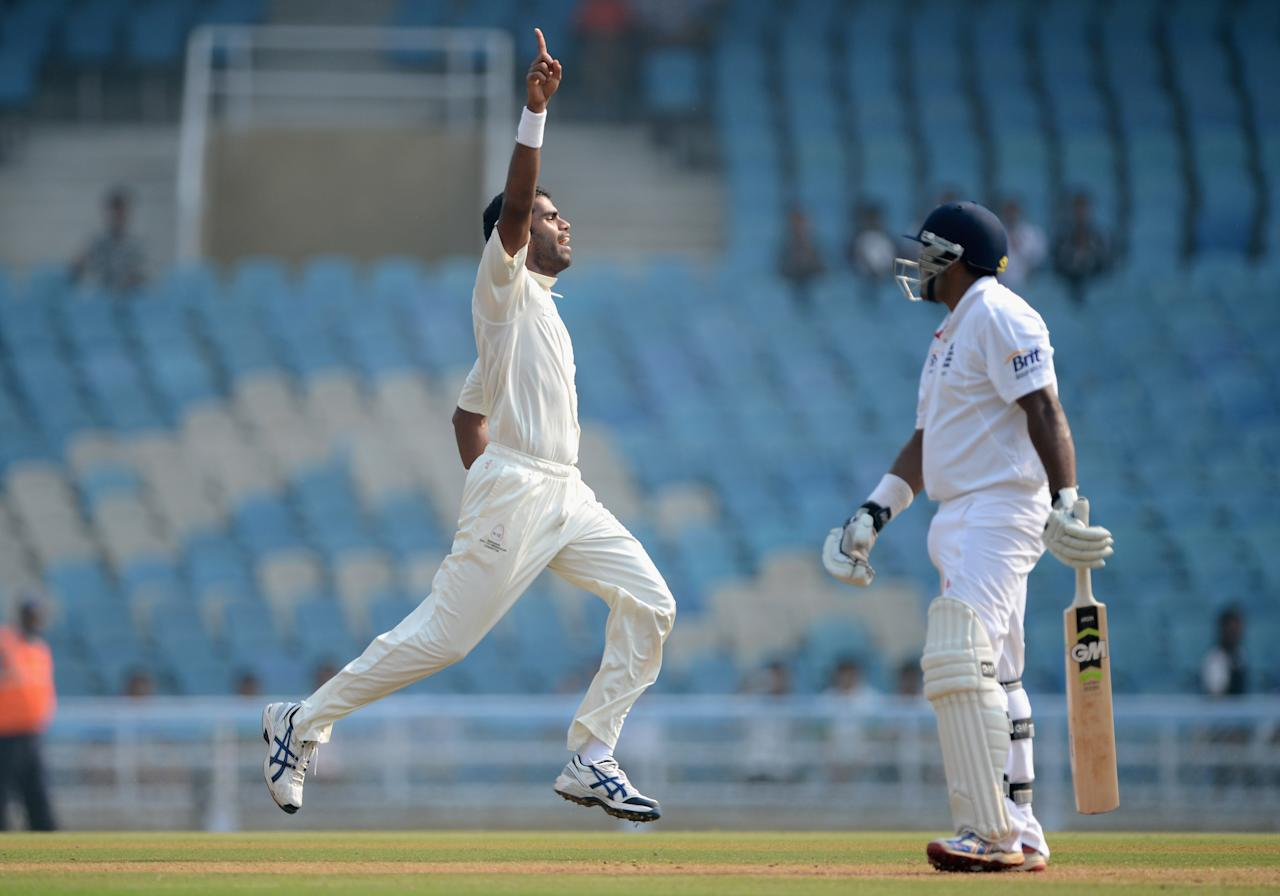 MUMBAI, INDIA - NOVEMBER 04:  Kshemal Waingankar of Mumbai A celebrates dismissing Samit Patel of England during day two of the tour match between Mumbai A and England at The Dr D.Y. Palit Sports Stadium on November 4, 2012 in Mumbai, India.  (Photo by Gareth Copley/Getty Images)