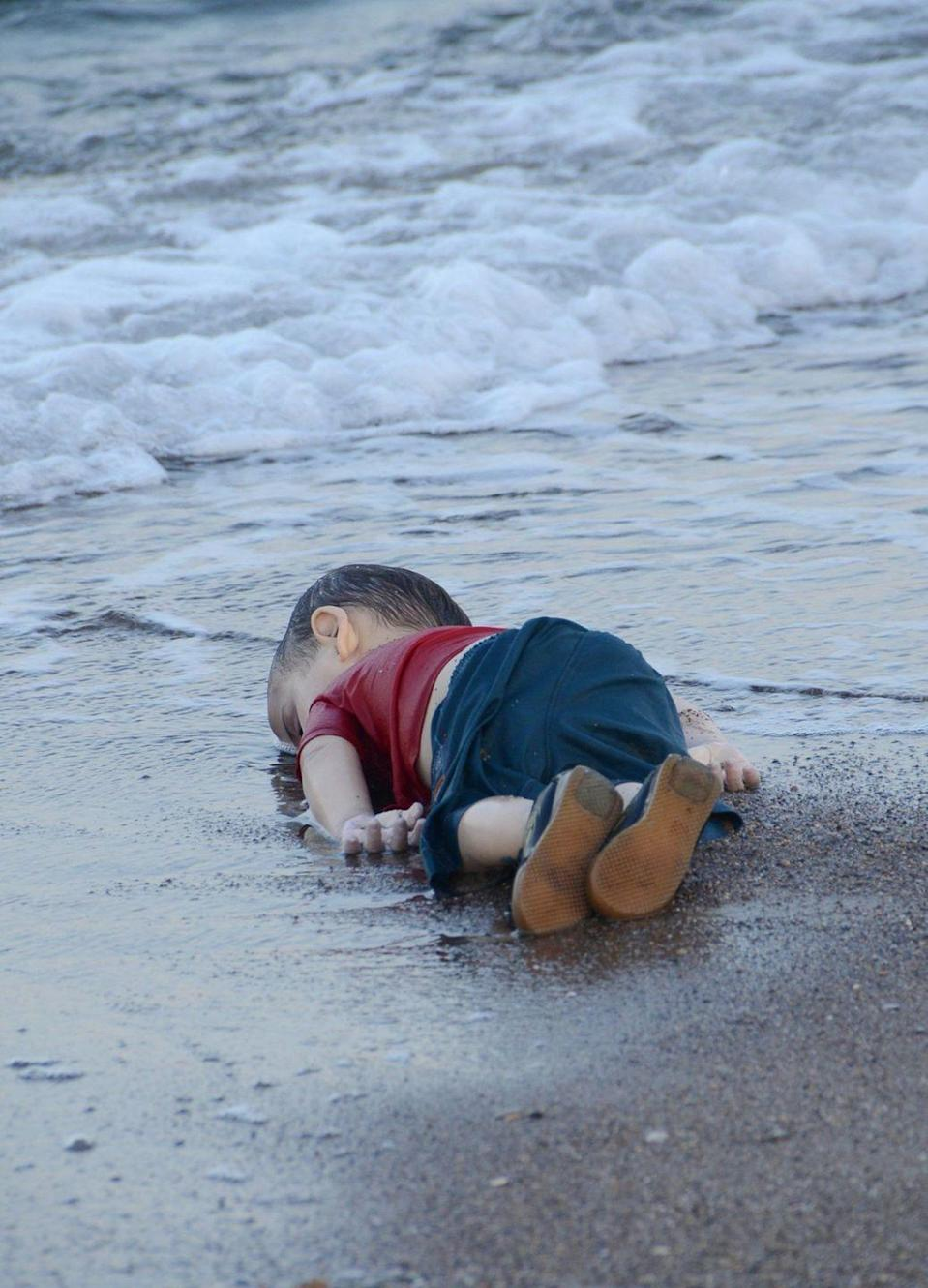 <p>2015. Three-year-old Syrian refugee Alan Kurdi drowned when his family's inflatable boat capsized as they tried to reach the Greek island of Kos.</p>