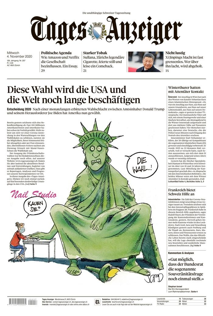"TAGES-ANZEIGER, Published in Zurich, Switzerland (Courtesy <a href=""https://www.newseum.org/todaysfrontpages/"" rel=""nofollow noopener"" target=""_blank"" data-ylk=""slk:Newseum"" class=""link rapid-noclick-resp"">Newseum</a>)"