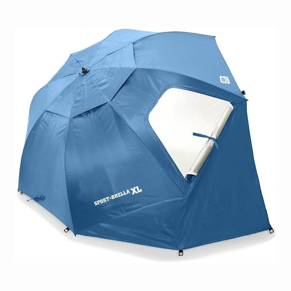 """<p><strong>Sport-Brella</strong></p><p>amazon.com</p><p><strong>$79.99</strong></p><p><a href=""""https://www.amazon.com/dp/B003DJ4FEM?tag=syn-yahoo-20&ascsubtag=%5Bartid%7C10055.g.31976779%5Bsrc%7Cyahoo-us"""" rel=""""nofollow noopener"""" target=""""_blank"""" data-ylk=""""slk:Shop Now"""" class=""""link rapid-noclick-resp"""">Shop Now</a></p><p>This<strong> <a href=""""https://www.goodhousekeeping.com/home-products/g31744593/best-beach-umbrellas/"""" rel=""""nofollow noopener"""" target=""""_blank"""" data-ylk=""""slk:beach umbrella"""" class=""""link rapid-noclick-resp"""">beach umbrella</a> </strong>tent <strong>boasts a 4.5 star rating with over 6,000 reviews </strong>on Amazon. The canopy is supported by steel ribs and a telescoping pole, which the brand claims keeps the tent in place. The tent features zippered side windows for airflow and top wind vents. Reviewers agree that it covers a wide surface area, but as a tradeoff, won't fit in smaller cars.</p>"""