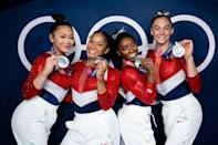 """<p>Biography: Lee is 18, Chiles is 20, Biles is 24 and McCallum is 18</p> <p>Event: Women's team gymnastics</p> <p>Quote: Biles, <a href=""""https://people.com/sports/tokyo-olympics-simone-biles-thanks-teammates-after-her-withdrawal/"""" rel=""""nofollow noopener"""" target=""""_blank"""" data-ylk=""""slk:who exited the competition"""" class=""""link rapid-noclick-resp"""">who exited the competition</a> for personal reasons: """"I'm SO proud of these girls right here. You girls are incredibly brave & talented! I'll forever be inspired by your determination to not give up and to fight through adversity! They stepped up when I couldn't. Thanks for being there for me and having my back! Forever love y'all.""""</p>"""