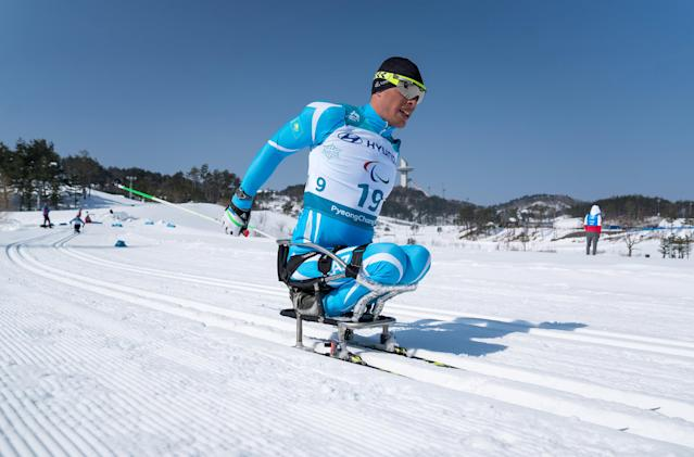 Denis Petrenko KAZ competes during the Cross-Country Skiing sitting Men's 15km at the Alpensia Biathlon Center. The Paralympic Winter Games, PyeongChang, South Korea, Sunday 11th March 2018. OIS/IOC/Bob Martin/Handout via Reuters
