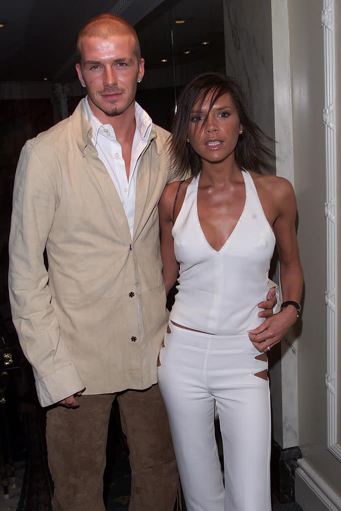 David and Victoria Beckham at the Silver Clef Awards at the Intercontinental Hotel in London. (Getty Images)