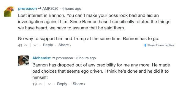 Commenters make their displeasure with Bannon known on Breitbart, the site he helped cultivate. (Photo: Breitbart News)