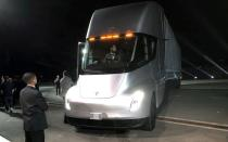 FILE PHOTO: Tesla's new electric semi truck is unveiled during a presentation in Hawthorne