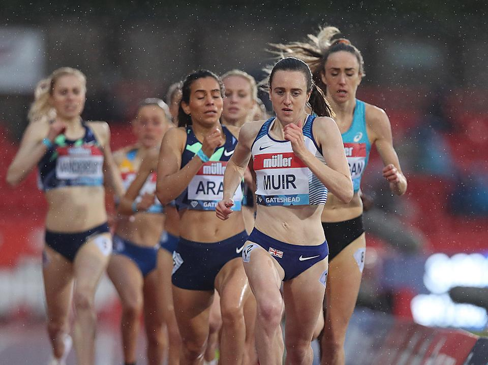 Laura Muir leads the 1500m field in Gateshead this May (Getty Images)