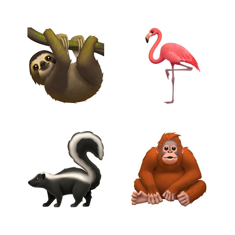 The sloth, flamingo, skunk and orangutan are new additions to the animal category. (PHOTO: Apple)