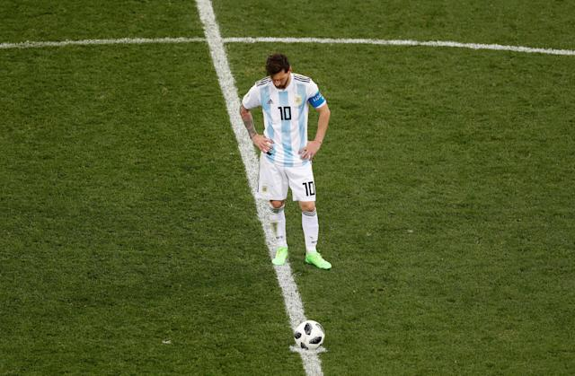Soccer Football - World Cup - Group D - Argentina vs Croatia - Nizhny Novgorod Stadium, Nizhny Novgorod, Russia - June 21, 2018 Argentina's Lionel Messi looks dejected after conceding their first goal scored by Croatia's Ante Rebic REUTERS/Carlos Barria