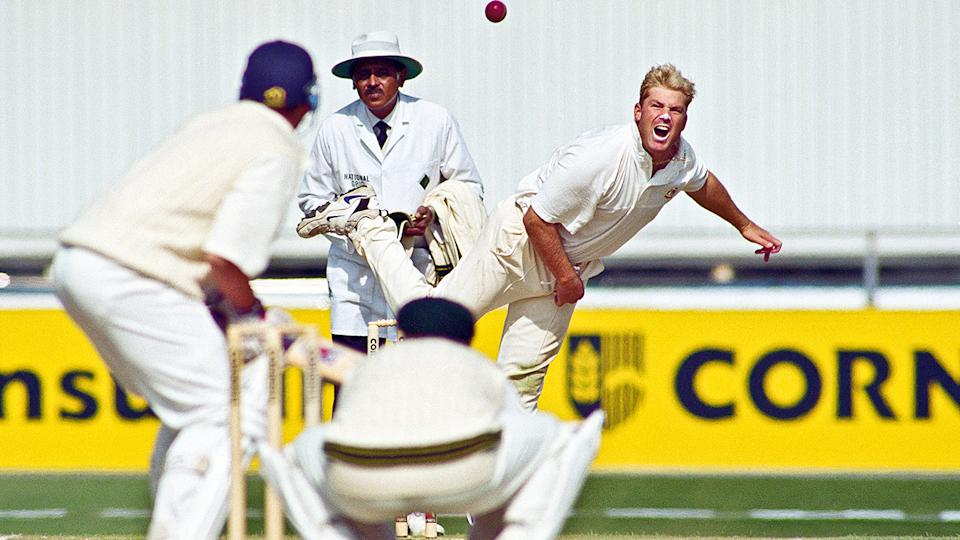 Shane Warne, pictured here in action against England in 1997 in Manchester.