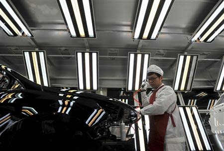 File picture shows an employee working at a Chinese automobile factory in Hefei
