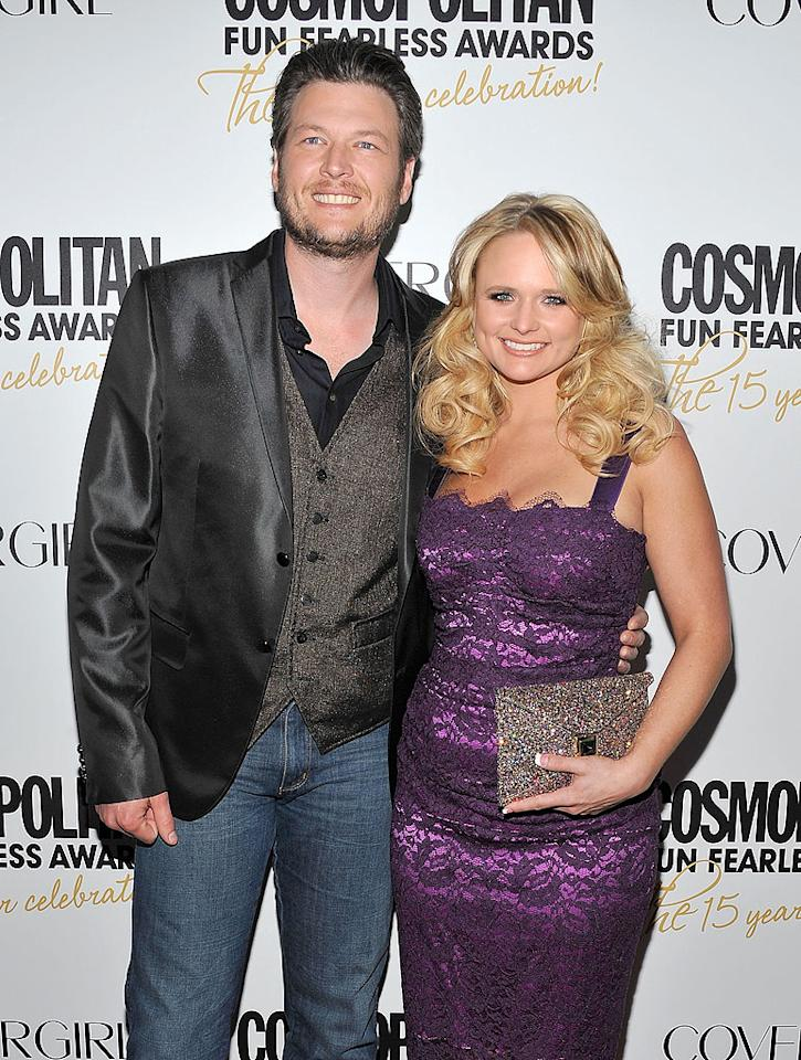 """""""The Voice"""" judge Blake Shelton took his wife, fellow country crooner Miranda Lambert, as his date to the event. """"I'm definitely more fun than I am fearless because there's a little  blond-headed girl that scares the crap out of me,"""" he told MTV on the red carpet. Wonder who he's talking about! (3/5/2012)"""