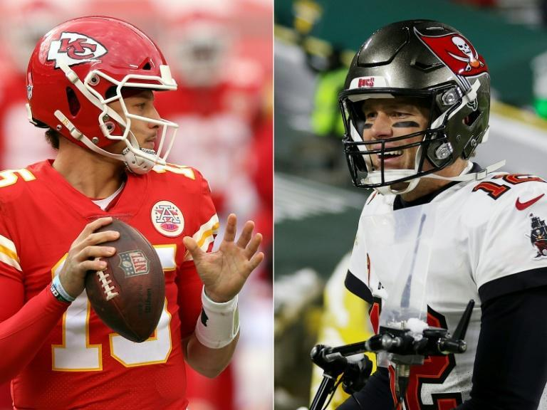 Patrick Mahomes (left) and Tom Brady (right) meet in the Super Bowl on Sunday when the Kansas City Chiefs defend their title against the Tampa Bay Buccaneers