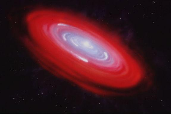 Gaps in the disk of dust surrounding the star Beta Pictoris, as shown in this artist's illustration, could have formed by a growing planet, or could have been created by the presence of gas in the system.