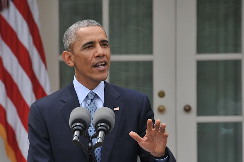 US President Bararck Obama makes a statement at the White House in Washington, DC, on April 2, 2015