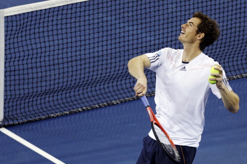 Andy Murray, of Britain, watches the flight of a ball he fired into the stands after defeating Milos Raonic, of Canada, 6-4, 6-4, 6-2 in the fourth round of play at the U.S. Open tennis tournament, Monday, Sept. 3, 2012, in New York. (AP Photo/Charles Krupa)