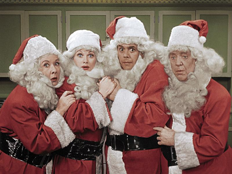 "This image released by CBS shows, from left, Vivian Vance, Lucille Ball, Desi Arnaz and William Frawley from the ""I Love Lucy Christmas Special,"" airing Dec. 2 at 8 p.m. ET/PT on CBS. (CBS via AP)"