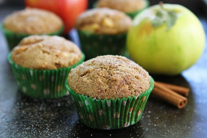"""<p>Easy to make and bursting with apple chunks and autumnal spices, these muffins are the ultimate fall treat. Just wait until you taste the cinnamon-sugar topping.</p><p><strong><a href=""""https://www.thepioneerwoman.com/food-cooking/recipes/a81171/brown-butter-apple-cinnamon-muffins/"""" rel=""""nofollow noopener"""" target=""""_blank"""" data-ylk=""""slk:Get the recipe."""" class=""""link rapid-noclick-resp"""">Get the recipe.</a></strong></p><p><strong><a class=""""link rapid-noclick-resp"""" href=""""https://go.redirectingat.com?id=74968X1596630&url=https%3A%2F%2Fwww.walmart.com%2Fsearch%2F%3Fquery%3Dpioneer%2Bwoman%2Bbaking%2Btools&sref=https%3A%2F%2Fwww.thepioneerwoman.com%2Ffood-cooking%2Fmeals-menus%2Fg37145681%2Feasy-apple-recipes%2F"""" rel=""""nofollow noopener"""" target=""""_blank"""" data-ylk=""""slk:SHOP BAKING TOOLS"""">SHOP BAKING TOOLS</a><br></strong></p>"""