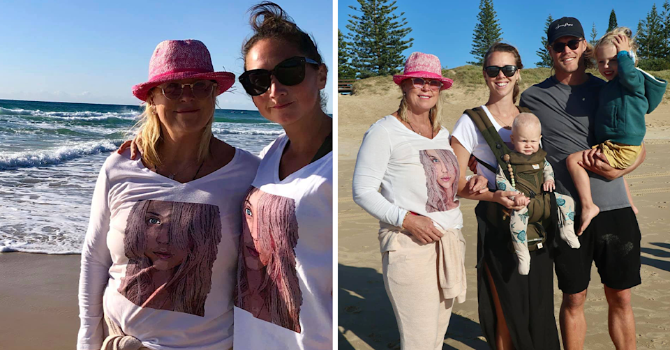 Millie Thomas, Lisa Curry and family at the beach.