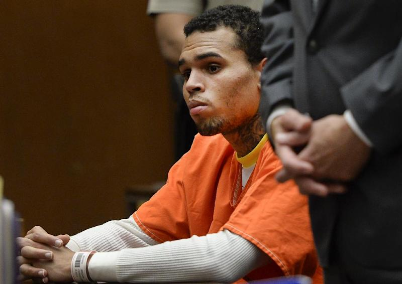 R&B singer Chris Brown appears in court on Thursday, May 1, 2014, in Los Angeles. Superior Court Judge James Brandlin ordered Brown to appear in court again next week to update him on efforts between the singer's attorney and prosecutors to strike a deal on probation issues in the singer's 2009 assault case filed after his attack on then-girlfriend Rihanna. (AP Photo/Kevork Djansezian, Pool)