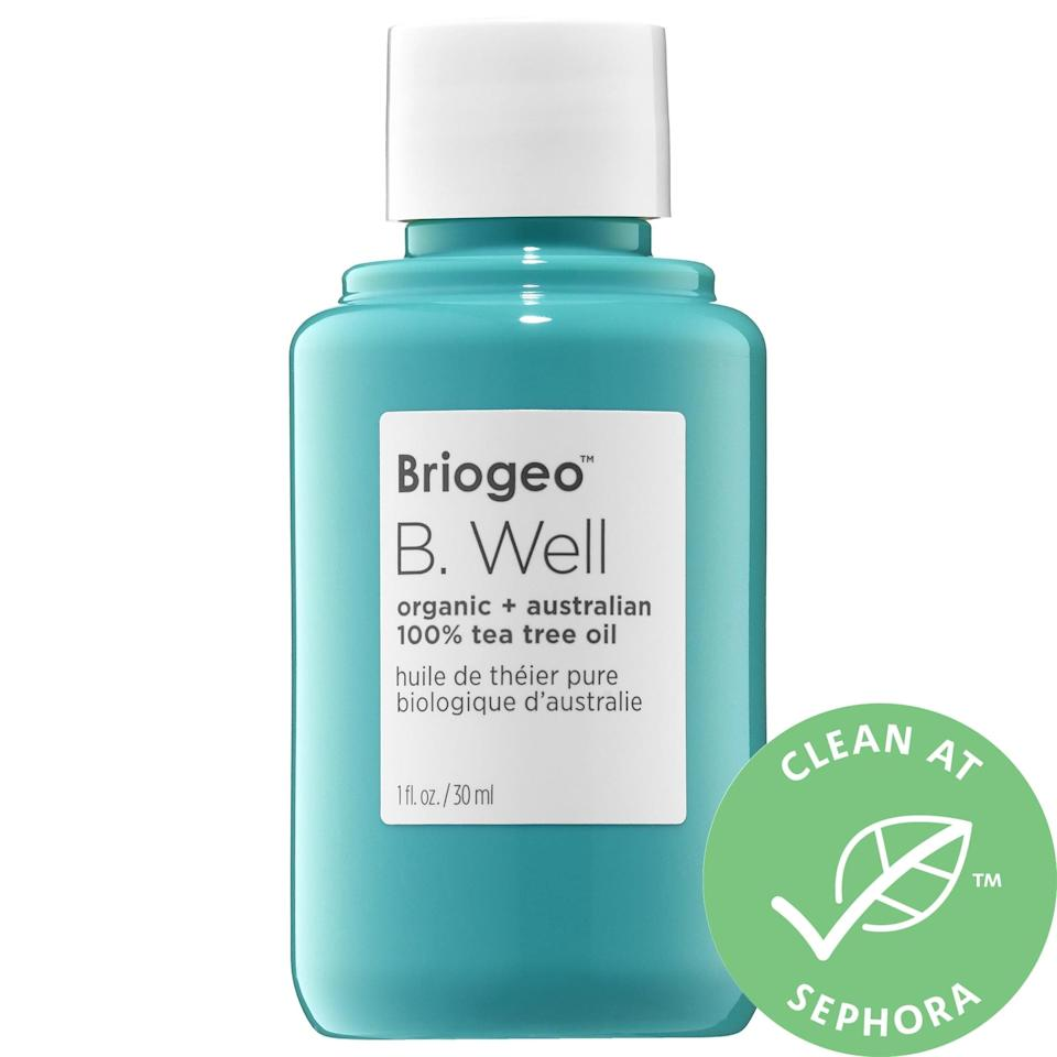 """<p>The tea tree oil in this top-rated <a href=""""https://www.popsugar.com/buy/Briogeo-B-Well-Organic-Australian-100-Tea-Tree-Skin-Scalp-Oil-572823?p_name=Briogeo%20B.%20Well%20Organic%20%2B%20Australian%20100%25%20Tea%20Tree%20Skin%20and%20Scalp%20Oil&retailer=sephora.com&pid=572823&price=32&evar1=bella%3Aus&evar9=47461551&evar98=https%3A%2F%2Fwww.popsugar.com%2Fbeauty%2Fphoto-gallery%2F47461551%2Fimage%2F47461552%2FBriogeo-B-Well-Organic-Australian-100-Tea-Tree-Skin-Scalp-Oil&list1=sephora%2Cdry%20skin%2Cacne%2Csensitive%20skin%2Cbeauty%20shopping%2Cskin%20care&prop13=mobile&pdata=1"""" class=""""link rapid-noclick-resp"""" rel=""""nofollow noopener"""" target=""""_blank"""" data-ylk=""""slk:Briogeo B. Well Organic + Australian 100% Tea Tree Skin and Scalp Oil"""">Briogeo B. Well Organic + Australian 100% Tea Tree Skin and Scalp Oil</a> ($32) can calm itchy, irritated skin on your face or your scalp, too. It also combats the oiliness that can lead to breakouts and soothe existing blemishes when diluted with water.</p>"""