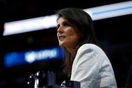 U.S. Ambassador to the United Nations NIkki Haley speaks to the American Israel Public Affairs Committee (AIPAC) policy conference in Washington