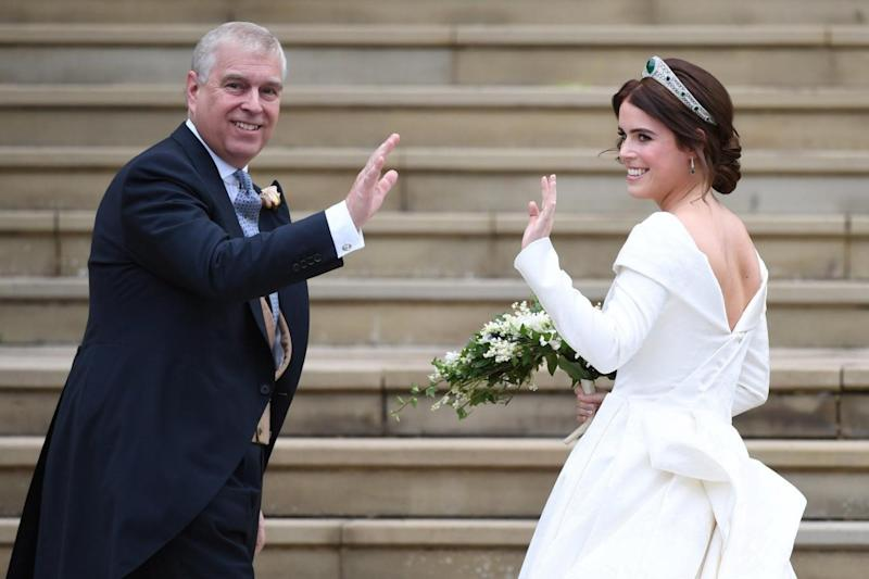 Princess Eugenie of York arrives with her father, Prince Andrew (EPA)