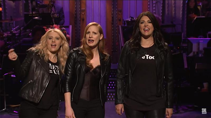 Jessica Chastain Brings the Women's March to 'Saturday Night Live': Watch Her Opening Monologue!