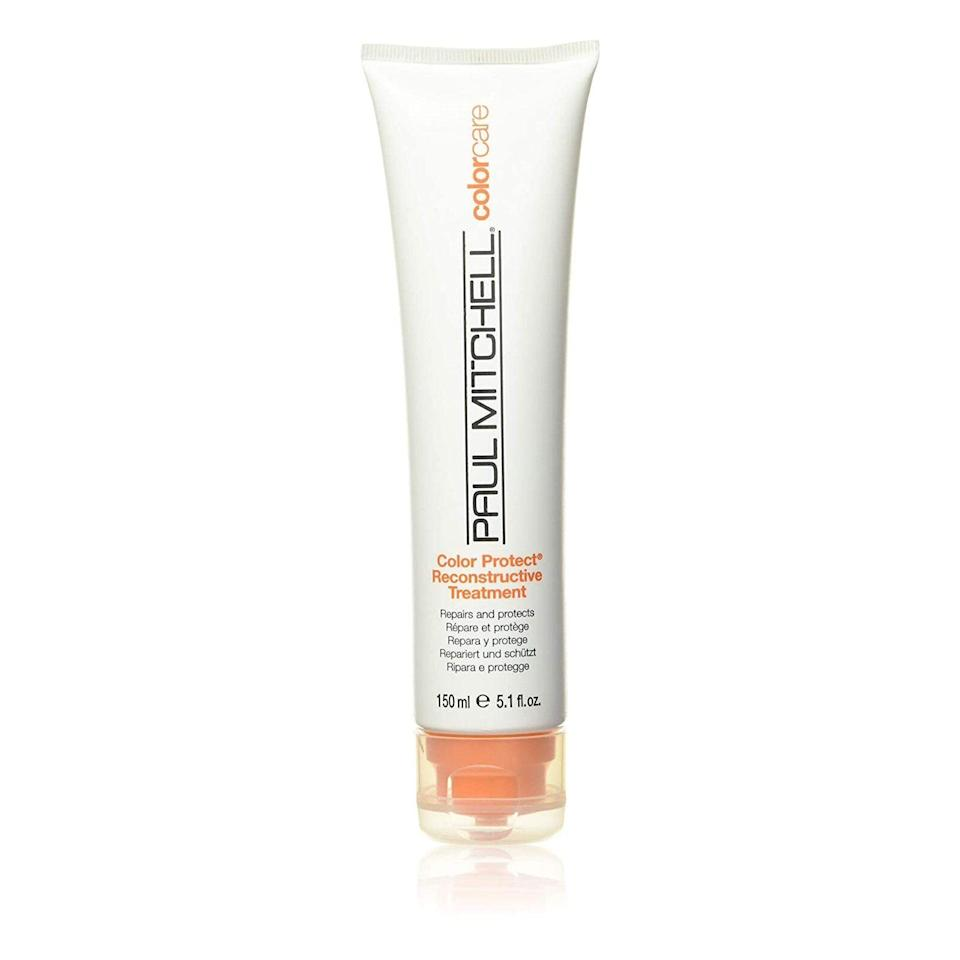 """Rivera calls Paul Mitchell's Color Protect Reconstructive Treatment a """"terrific option"""" for color-treated hair. """"It repairs, conditions, and hydrates the hair while helping prevent breakage and reducing split ends,"""" she says."""