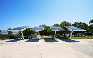 Four EV ARC 2020 solar EV charging units at manufacturer Beam Global headquarters in San Diego.