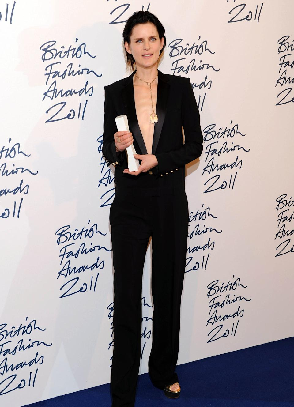 Stella Tennant favoured revealing tailoring for her win at the 2011 British Fashion AwardsRex Features