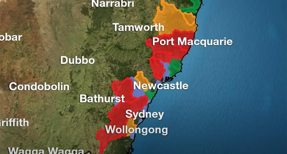 Major flood warnings are in place across NSW for Saturday. Source: BoM