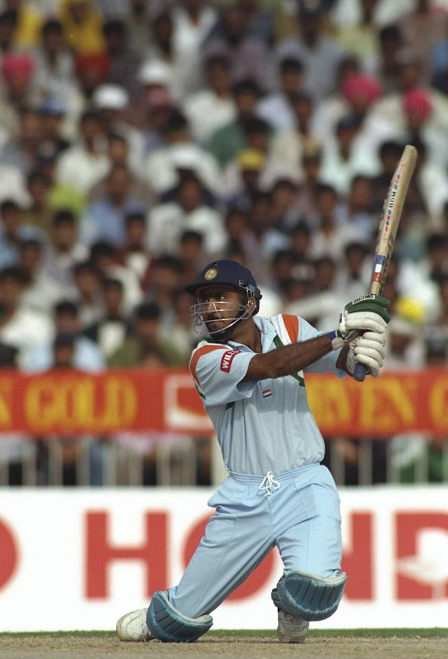 11 Dec 1997: Syed Saba Karim of India plays a shot during the Singer Champions Trophy in Sharjah, United Arab Emirates. \ Mandatory Credit: Stu Forster /Allsport