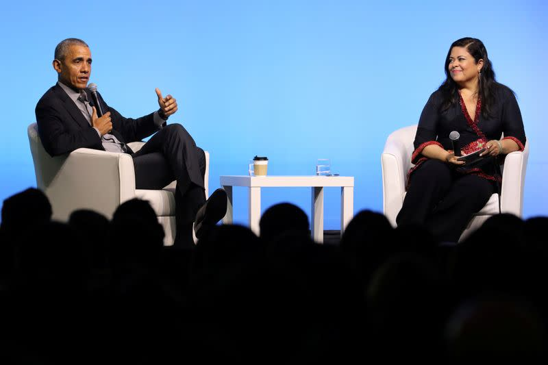 Former U.S. President Obama and his half-sister Maya Soetoro-ng speak during an Obama Foundation event in Kuala Lumpur