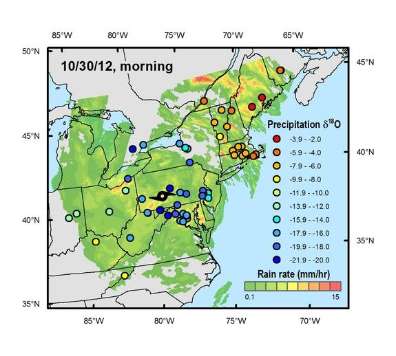 Rainfall amounts and oxygen-18 isotope values derived from water samples crowdsourced during Hurricane Sandy.
