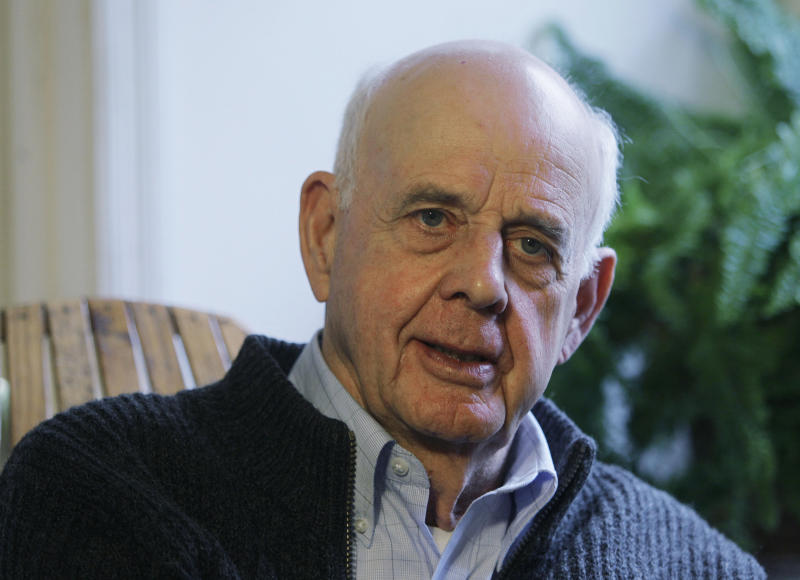 In this March 10, 2011 photo, author Wendell Berry talks with a reporter at his home in Port Royal, Ky. For his career of writings about the need to live in harmony with the Earth, the 79-year-old Kentucky author has been awarded the Dayton Literary Peace Prize. (AP Photo/Ed Reinke)
