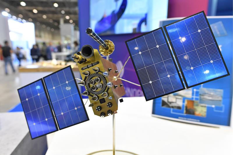 A mockup of the GLONASS-K satellite navigation system on display at Technoprom-2019, the 7th International Forum of Technological Development at the Novosibirsk Expocenter. (Kirill Kukhmar\TASS via Getty Images)