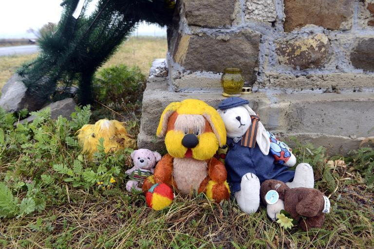 A photo taken on September 9, 2014 shows sof toys places at a monument created at the Malaysia Airlines Flight MH17 crash site in the village of Hrabove (Grabovo), some 80km east of Donetsk