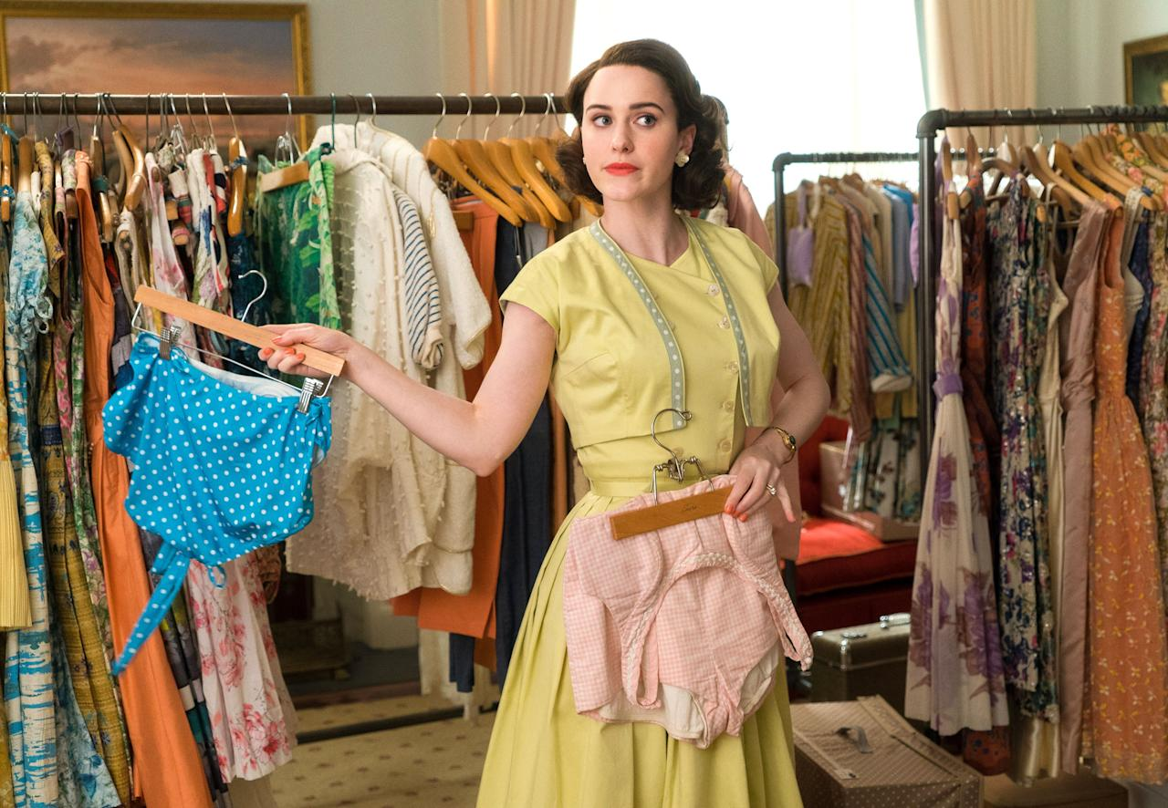 """Click here to find out all the tea on <a href=""""https://www.glamour.com/story/the-marvelous-mrs-maisel-season-3-details?mbid=synd_yahoo_rss""""><em>The Marvelous Mrs. Maisel</em>'s</a> third season, which has Midge hitting the road on tour while still trying to figure out her life at home. <em>Streaming on Prime Video</em>"""