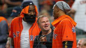 Rockets owner Tilman Fertitta with James Harden and Russell Westbrook
