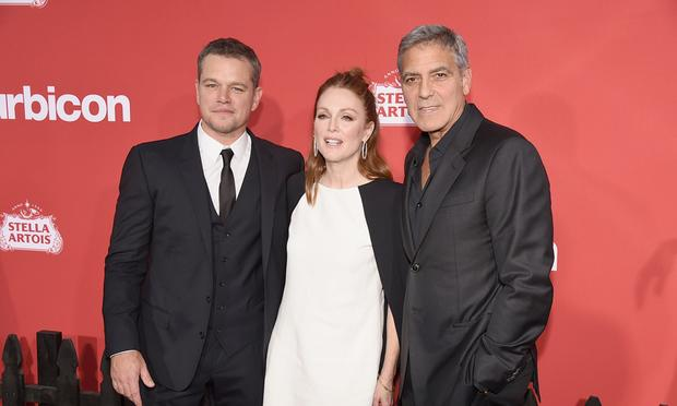 George Clooney with Matt Damon and Julianne Moore