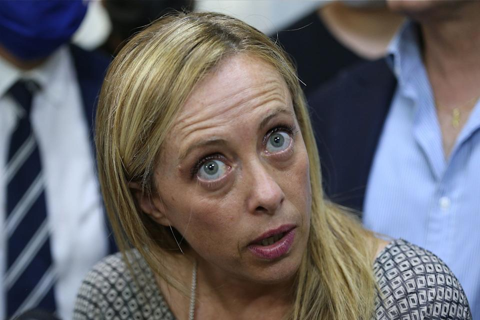 NAPLES, ITALY - 2020/07/24: Giorgia Meloni, leader of the Fratelli D'Italia political party, during a press conference in Naples for the regional elections in Campania. (Photo by Marco Cantile/LightRocket via Getty Images) (Photo: Marco Cantile via Getty Images)